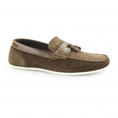 HOUGHTON Mens Suede Casual Tassel Loafers Brown