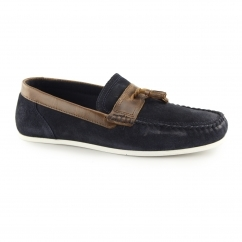 HOUGHTON Mens Suede Casual Tassel Loafers Navy