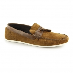 HOUGHTON Mens Suede Casual Tassel Loafers Tan