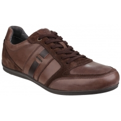 GEOX HOUSTON Mens Suede Lace Up Comfort Trainers Dark Brown