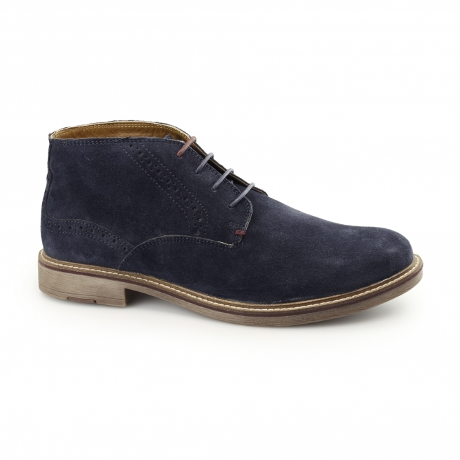 Front HOUSTON Mens Suede Leather Chukka Boots Navy