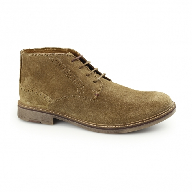 Front HOUSTON Mens Suede Leather Chukka Boots Sand