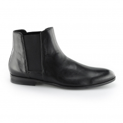 Hudson ADLER Mens Leather Elasticated Chelsea Boots Black | Shuperb