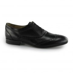 Hudson FRANCIS CALF Mens Leather Wingtip Brogue Shoes Black | Shuperb