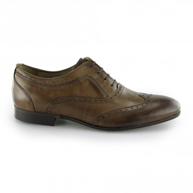 Hudson FRANCIS CALF Mens Leather Smart Casual Brogue Shoes Tan | Shuperb