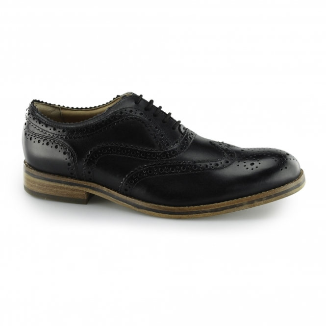 Hudson KEATING Mens Leather Brogue Lace Up Shoes Black
