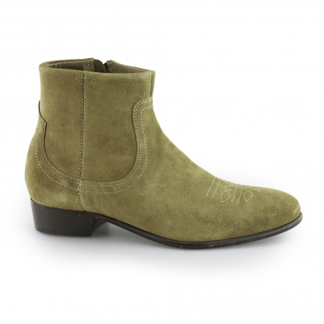 Hudson WINSTON Mens Suede Leather Zip Up Ankle Boots Sand