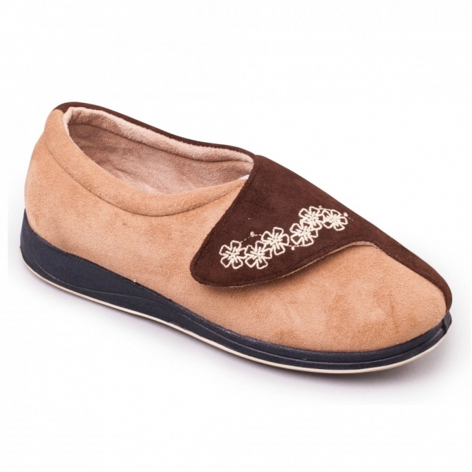 Padders HUG Ladies Microsuede Velcro Extra Wide (EE) Fitting Slippers Camel/Brown