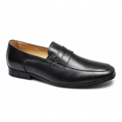 HUGO Mens Leather Chisel Toe Penny Loafers Black