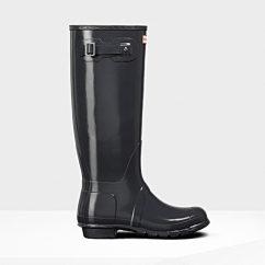 ORIGINAL Ladies Tall Gloss Wellington Boots Dark Slate