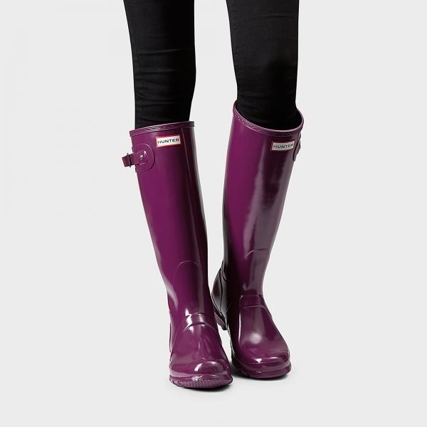 0591362f528 ORIGINAL TALL GLOSS Ladies Rubber Wellington Boots Violet