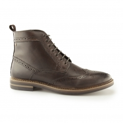 Base London HURST Mens Burnished Leather Brogue Boots Cocoa