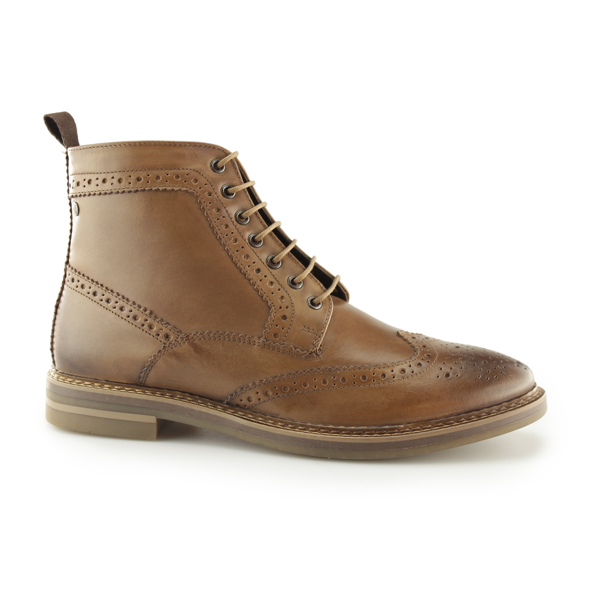 8cc24ef487a Base London HURST Mens Burnished Leather Derby Boots Tan