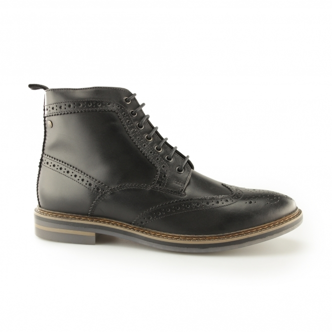 Base London HURST Mens Waxy Leather Brogue Boots Black