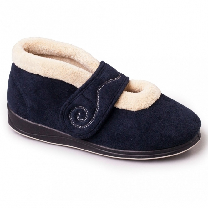 Padders HUSH Ladies Microsuede Extra Wide Touch Fasten Slippers Navy