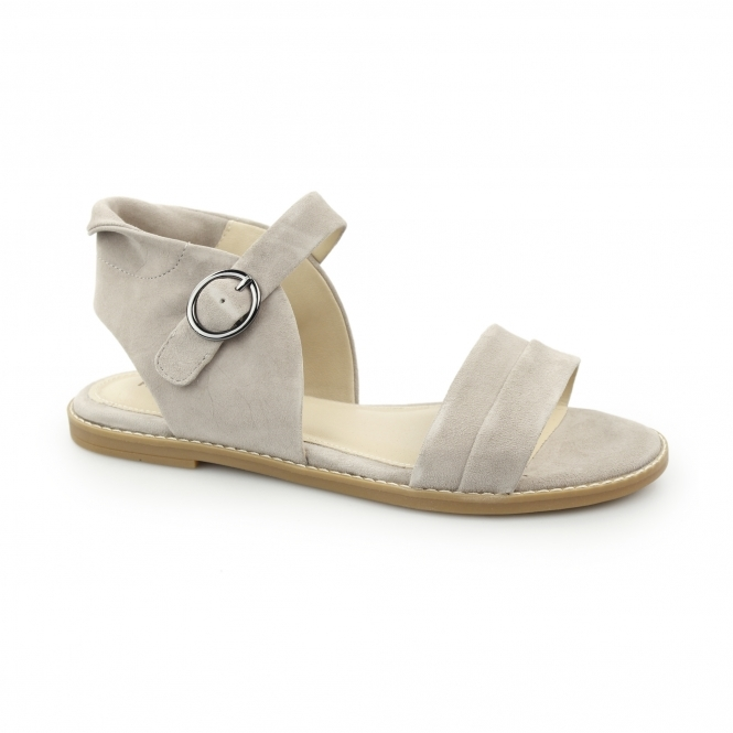Hush Puppies ABIA CHRISSIE Ladies Suede Leather Open Toe Sandals Taupe