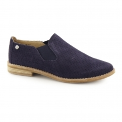 Hush Puppies ANALISE CLEVER Ladies Suede Leather Slip On Shoes Navy