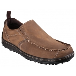 BELFAST SLIP ON MT Mens Leather Nubuck Dual Fit Outdoor Shoes Brown