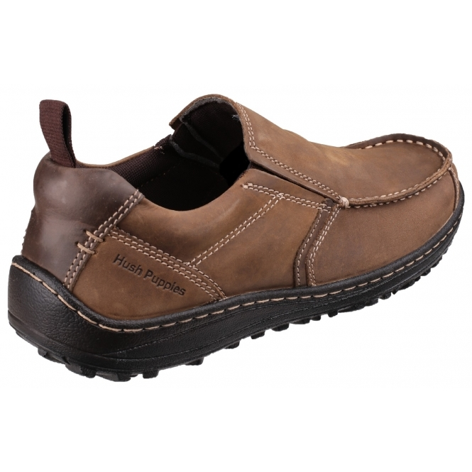 Hush Puppies BELFAST SLIP ON MT Mens Leather Nubuck Dual Fit Outdoor Shoes  Brown