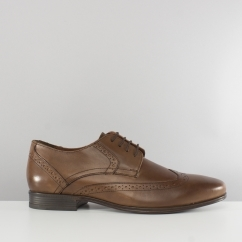 Hush Puppies BERTRAND WINGTIP Mens Leather Brogue Shoes Brown