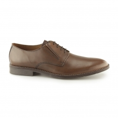 BO BRONSON Mens Leather Lace-Up Shoes Dark Tan
