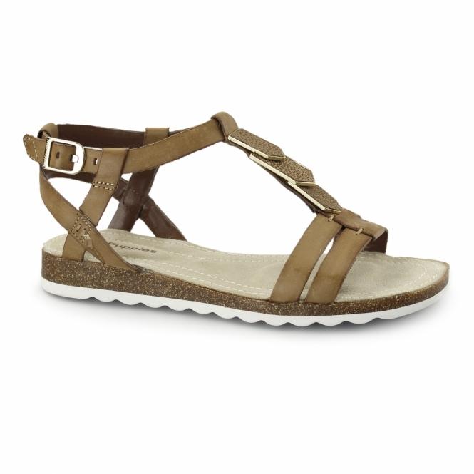 981c6e4219e3 Hush Puppies BRETTA JADE Ladies Flat Embellished Sandals Tan