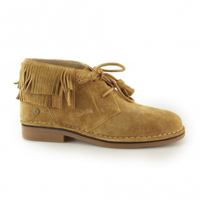 Hush Puppies CALA CATELYN Ladies Suede Lace Up Ankle Boots Camel