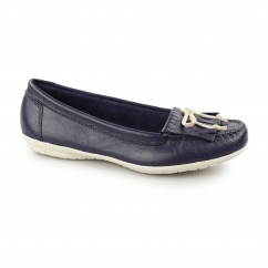 CEIL MOCC KL Ladies Leather Loafer Shoes Navy