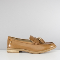 Hush Puppies CHARDON PENNY Ladies Leather Flats Loafers Tan