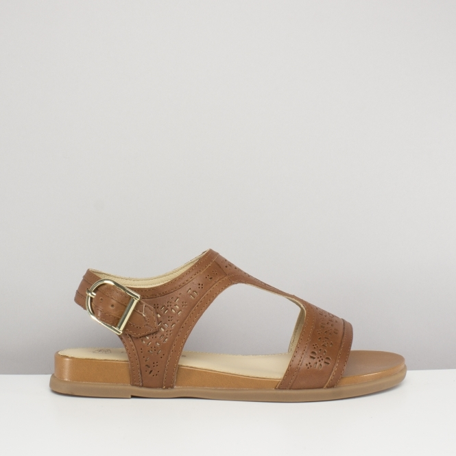 c69321c297d15 Hush Puppies DALMATION T-STRAP Ladies Leather Sandals Tan