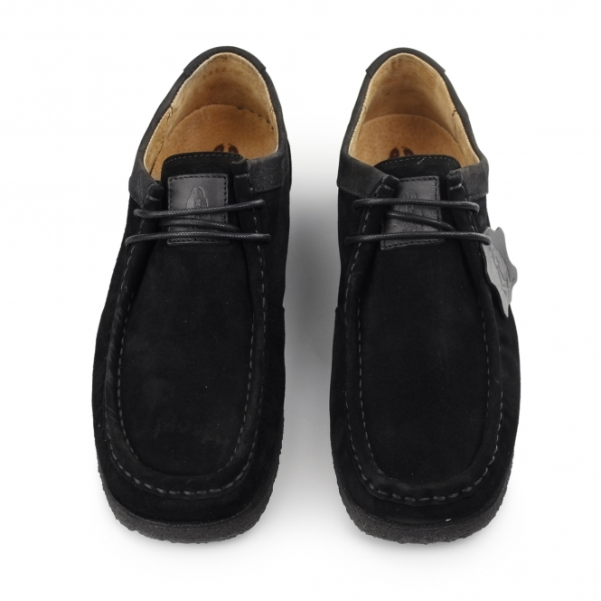 83815263a94ec Hush Puppies DAVENPORT LOW Mens Suede Moccasin Shoes Black | Shuperb