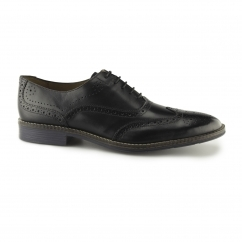 Hush Puppies EDDIE BRONSON Mens Real Leather Lace-Up Shoes Black