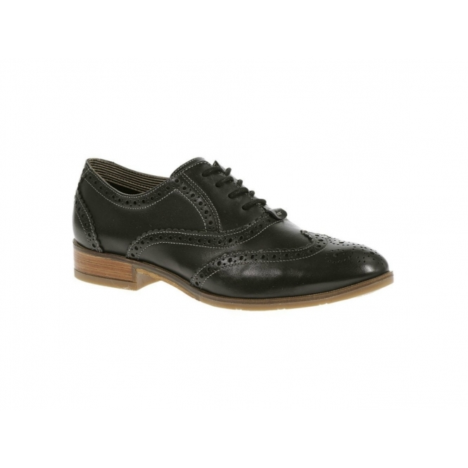 Hush Puppies ELLODIE ELLIS Ladies Wide Fit Oxford Brogue Shoes Black