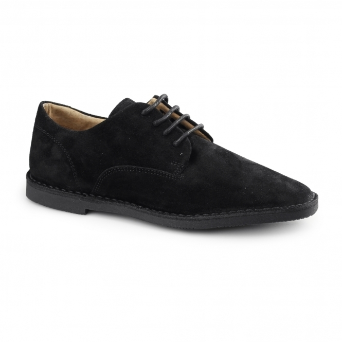 Hush Puppies GRANT Mens Suede Desert Shoes Black