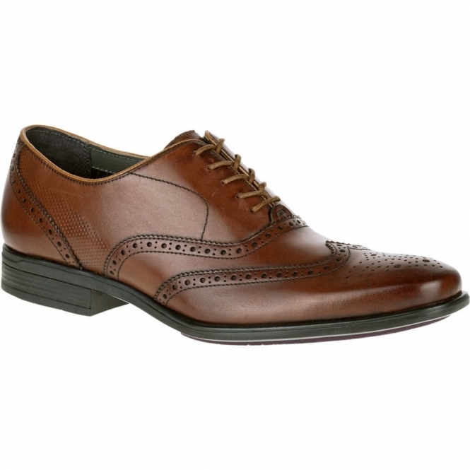 Hush Puppies GRIFFIN MADDOW Mens Leather Oxford Brogue Shoes Brown