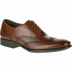 GRIFFIN MADDOW Mens Leather Oxford Brogue Shoes Brown