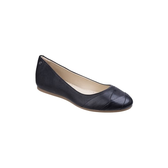 Hush Puppies HEIDI HEATHER Ladies Leather Ballerina Pumps Black