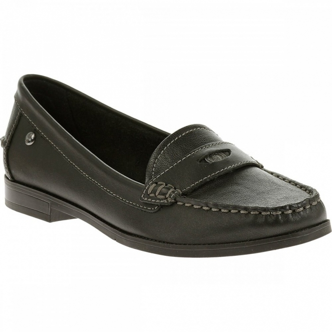 05fa4569800 Hush Puppies IRIS SLOAN Ladies Leather Loafer Shoes Black