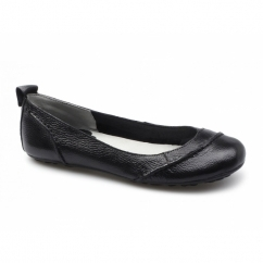 Hush Puppies JANESSA Ladies Slip On Patent Leather Pump Shoes Black