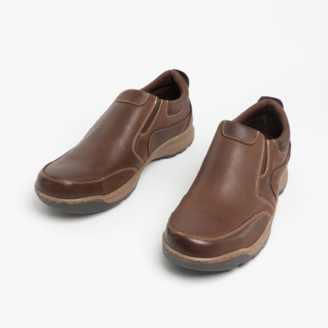newest reputable site best quality Hush Puppies JASPER Mens Leather Slip On Shoes Brown | Shuperb