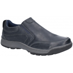 27d937bb54cc JASPER Mens Leather Slip On Shoes Navy