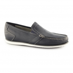 JAY PORTLAND Mens Leather Slip On Loafer Shoes Navy