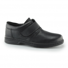 JEREMY HANSTON Mens Leather Touch Fasten Shoes Black