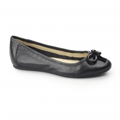 KAYNA HEATHER Ladies Leather Ballerina Pump Shoes Black