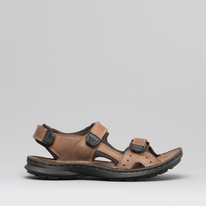 a83bdde03a66 Hush Puppies KOBE Mens Leather Touch Fasten Sandals Brown