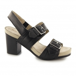 Hush Puppies LEONIE MARISKA Ladies Leather Block Heels Black
