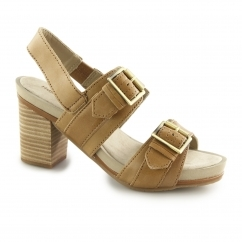 Hush Puppies LEONIE MARISKA Ladies Leather Block Heels Tan