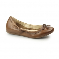 Hush Puppies LEXA HEATHER Ladies Leather Ballerina Shoes Tan