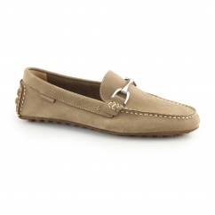LONGIN TERVEEN Mens Nubuck Moccasin Shoes Brown