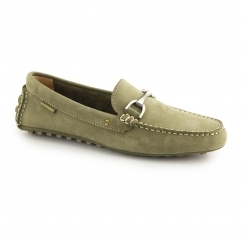 LONGIN TERVEEN Mens Nubuck Moccasin Shoes Olive